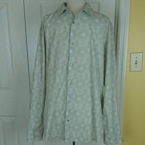 Calvin Klein gray and white circle patterned shirt